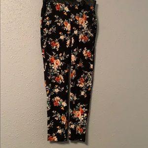 black flowered pants dress pants